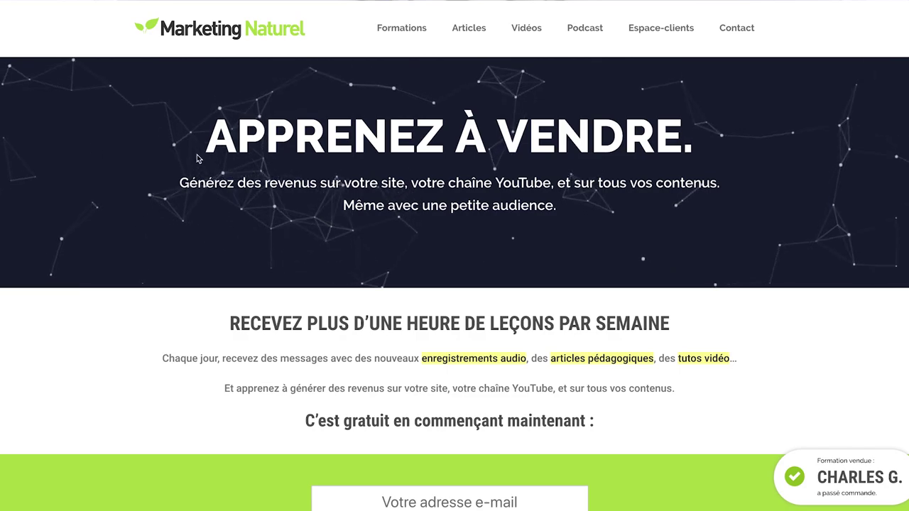 Page accueil Marketing Naturel